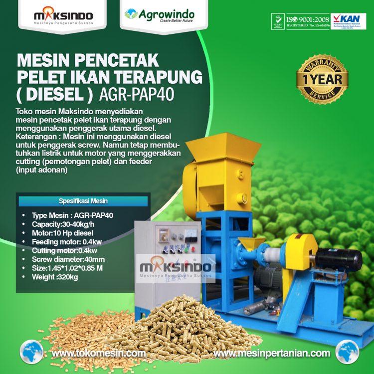 Mesin Pencetak Pelet Ikan Terapung (Diesel) AGR-PAP40