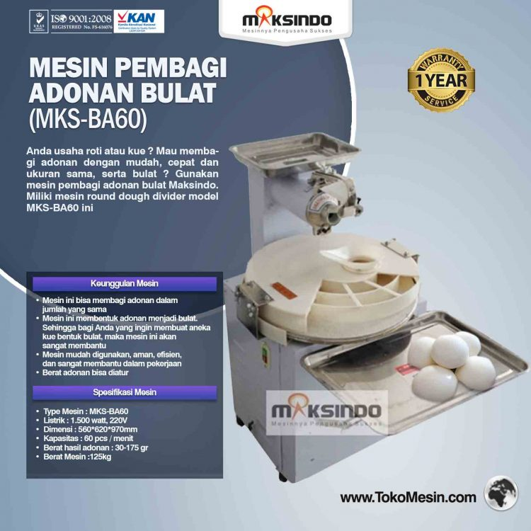 Mesin Pembagi Adonan Bulat (MKS-BA60)
