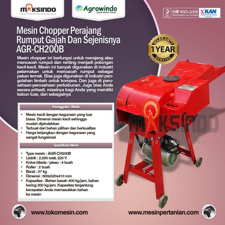 Mesin Chopper Perajang Rumput Gajah Dan Sejenisnya AGR-CH200B