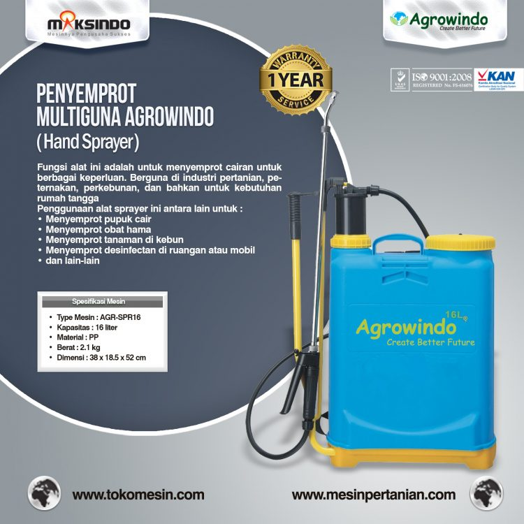 Hand Sprayer (Penyemprot) Multiguna Agrowindo AGR-SPR16