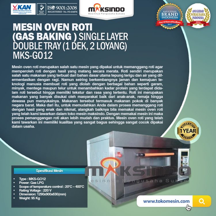 Mesin Oven Roti (Gas baking) MKS - GO12