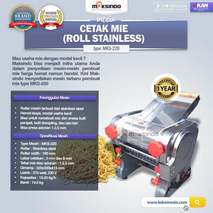 Mesin Cetak Mie MKS-220 (Roll Stainless)