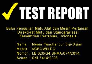 TEST REPORT MESIN PENGHANCUR BIJI-BIJIAN