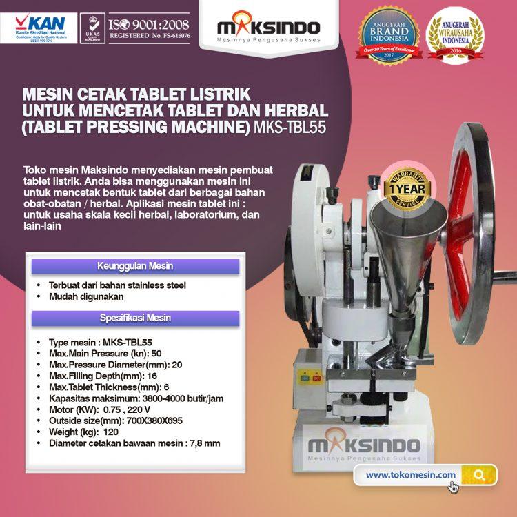 Mesin Cetak Tablet Listrik Untuk Mencetak Tablet MKS-TBL55