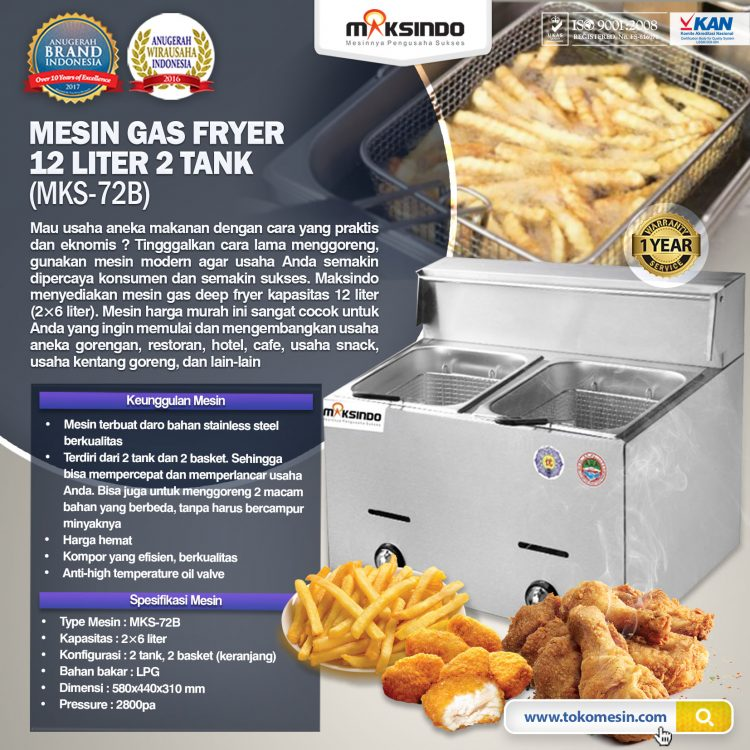 Mesin Gas Fryer 12 Liter 2 Tank (MKS-72B)