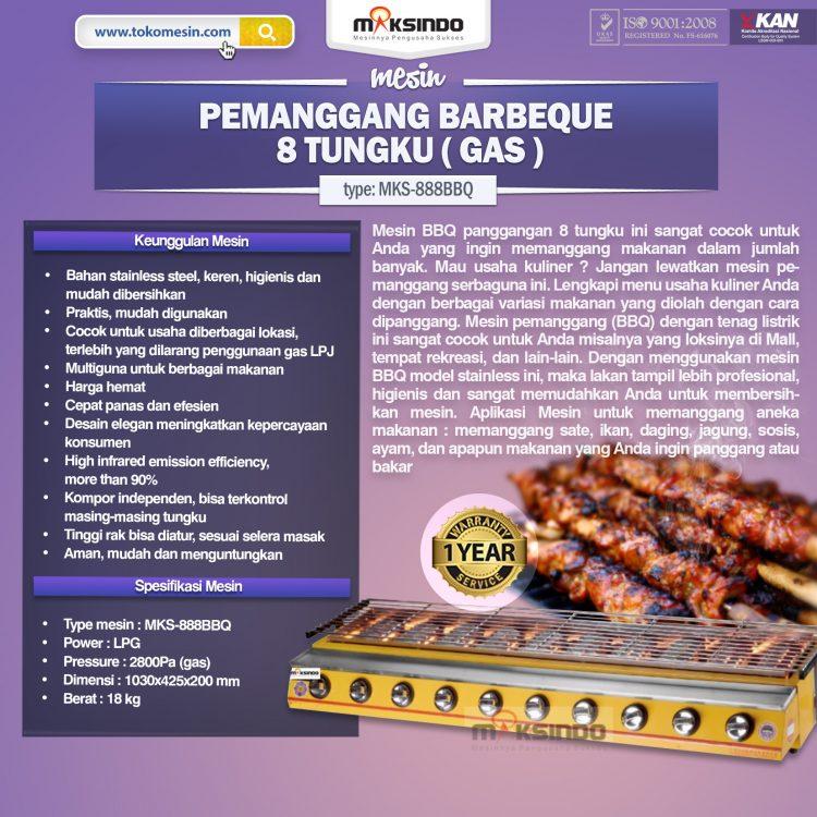 Pemanggang BBQ Stainless (gas) 8 Tungku baru